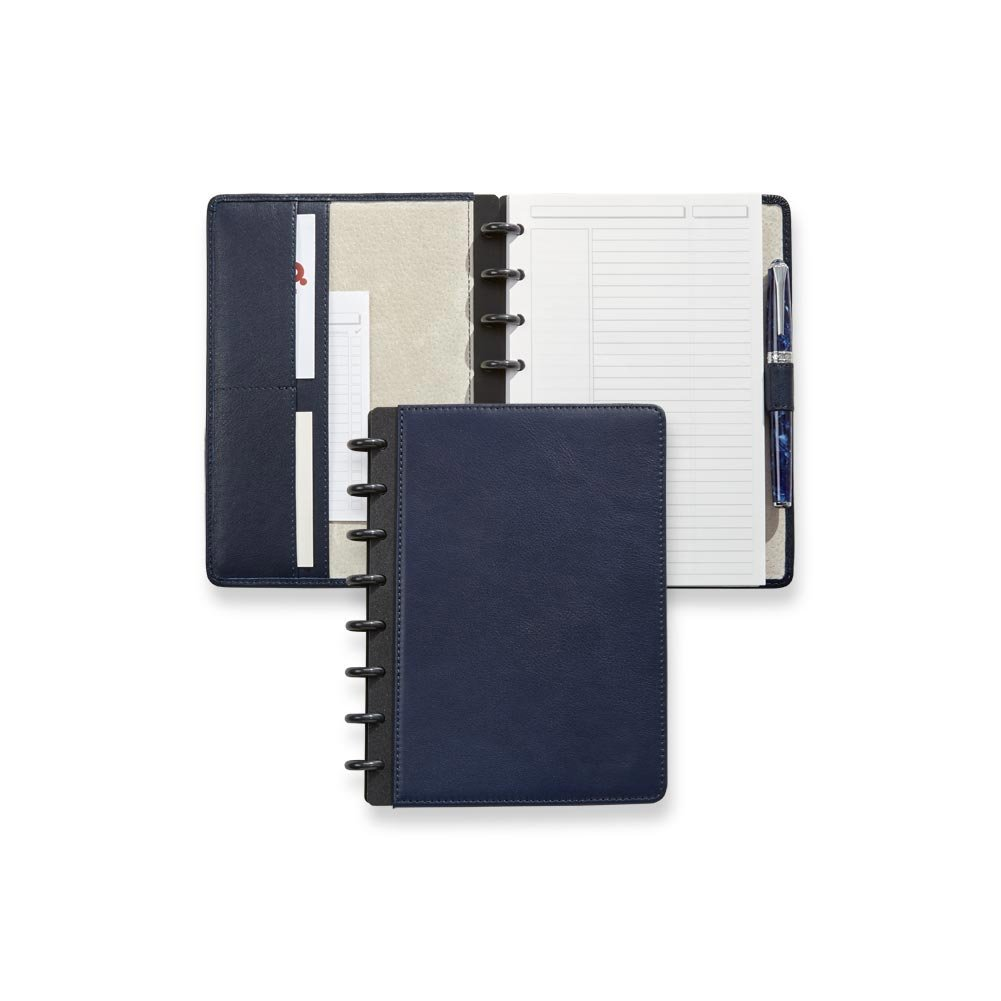 Levenger Luxe Midnight Circa Leather Foldover Notebook