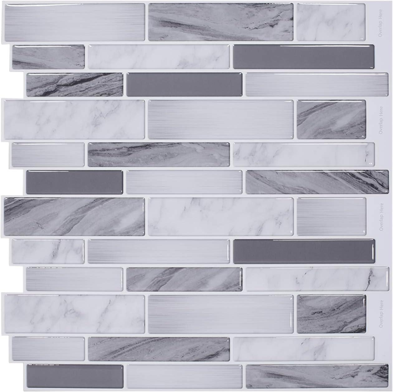 Amazon Com Vamos Tile 12 X 12 Premium Peel And Stick Tiles Backsplash Stick On Kitchen Backsplash Bathroom Wall Tile 10 Sheets Home Kitchen