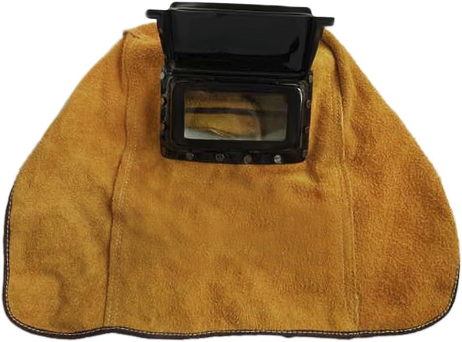 con protecci/ón contra el polvo para la cabeza y el cuello casco de piel transpirable con lentes y lentes de llama resistente al calor Casco de soldar para soldar protecci/ón contra el calor