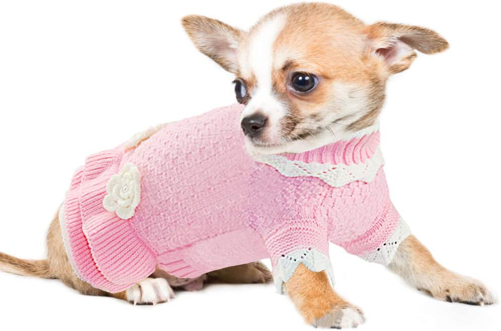 Joytale Dog Jumper Girls Winter Coat Pullover for Puppy Knitted Pink Dogs Sweaters