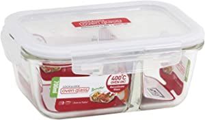 LOCK & LOCK Purely Better Glass Food Storage Container with Lid, Rectangle w/divider-25 oz, Clear