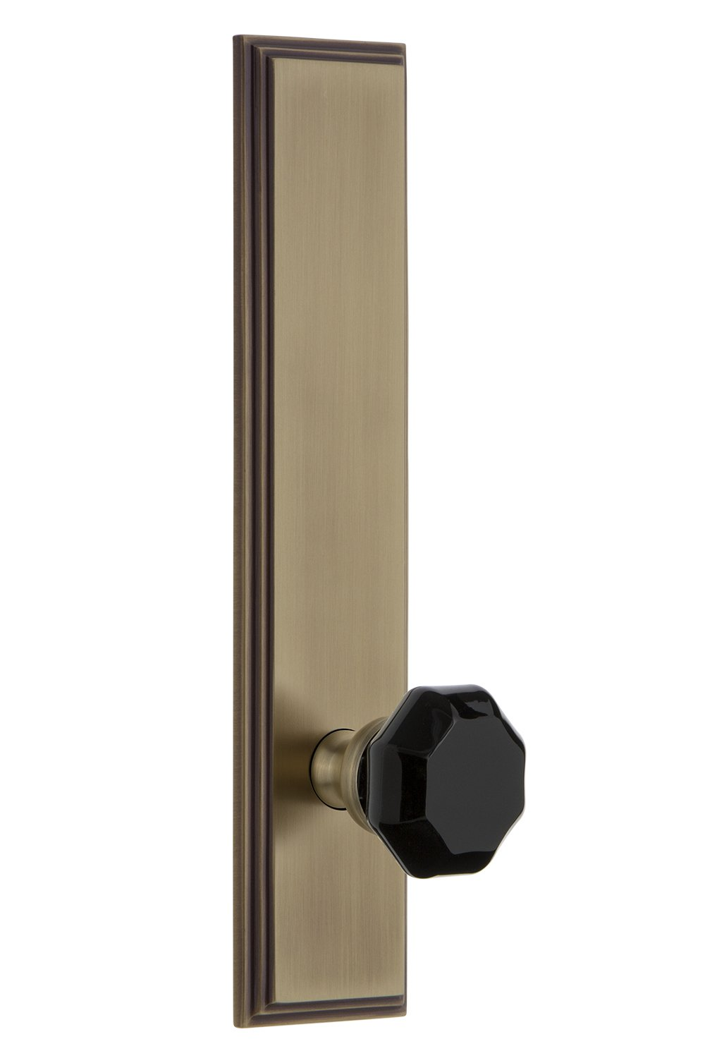 Grandeur Hardware 850738 Carre Tall Plate with Lyon Knob Double Dummy Vintage Brass