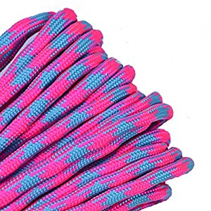 BoredParacord - 1', 10', 25', 50', 100' Hanks & 250', 1000' Spools of Parachute 550 Cord Type III 7 Strand Paracord WELL Over 300 Colors - Cotton Candy - 25 Feet