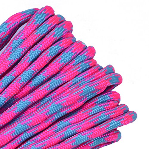 Bored Paracord - 1', 10', 25', 50', 100' Hanks & 250', 1000' Spools of Parachute 550 Cord Type III 7 Strand Paracord Well Over 300 Colors - Cotton Candy - 25 Feet