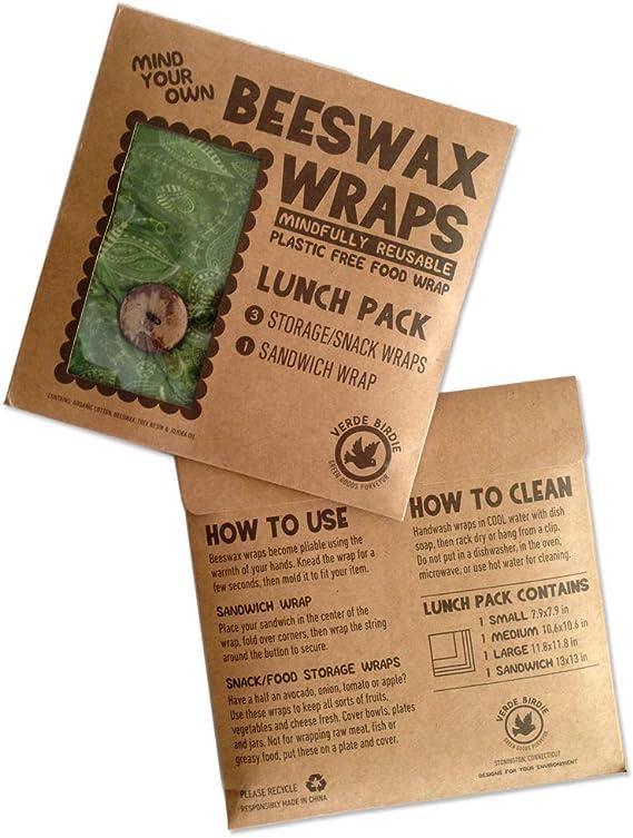 Beeswax Wraps - Pack de almuerzo para la escuela o la oficina, 1 pequeño, 1 mediano, 1 grande más 1 sándwich para no envoltura de plástico o bolsas sin residuos alternativos, reutilizable