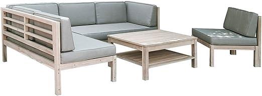 OUTLIV - Mueble de madera para el jardín Mueble para descansar en el jardín color blanco/taupe, 4 piezas Para el exterior: Amazon.es: Jardín