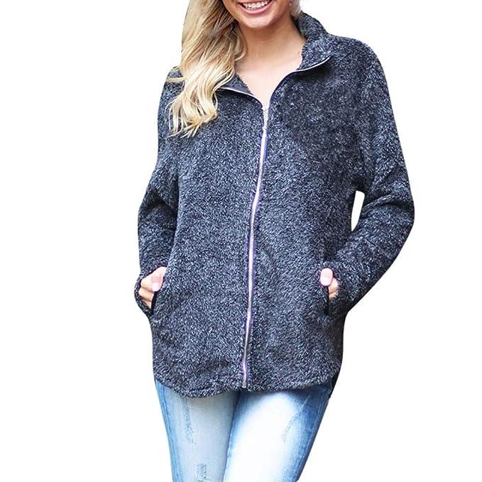 Linlink Promocion Abrigo de Las señoras Mujeres mullidas Felpa cálido Invierno Puro Color Capa Jumper Abrigo