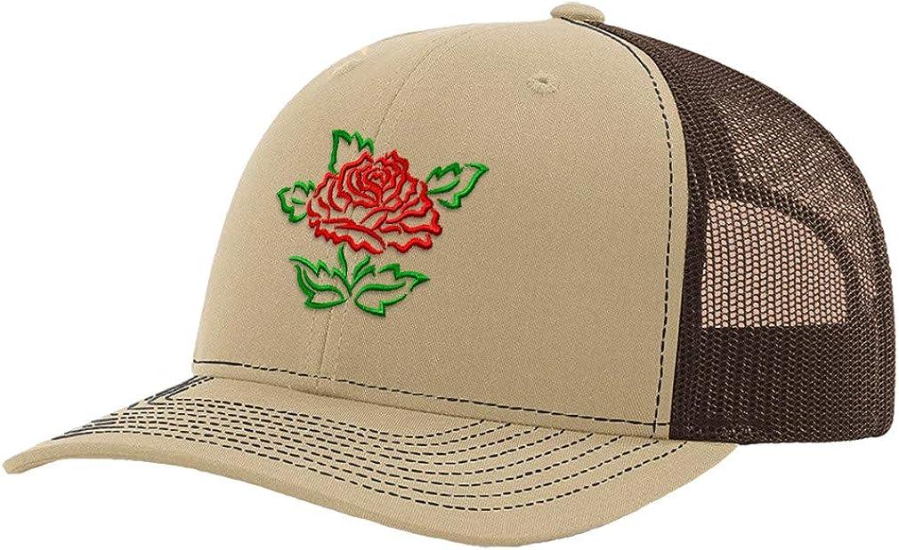 Custom Trucker Hat Baseball Cap Red Rose Flower Embroidery Dad Hats for Men
