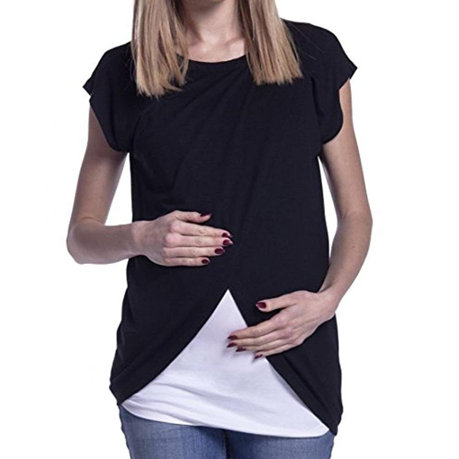 Amazon.com: DondPO Womens Maternity Tee Shirt Ruched Side-Shirred Nursing Breastfeeding Wrap Top Cap Sleeves Double Layer Loose Summer Blouse T-Shirt: ...