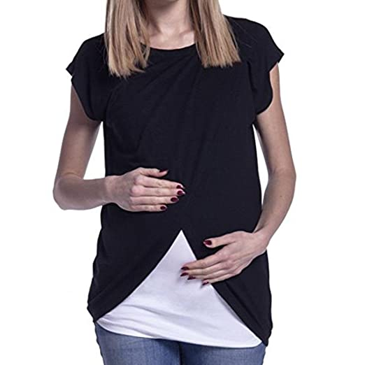 DondPO Womens Maternity Tee Shirt Ruched Side-Shirred Nursing Breastfeeding Wrap Top Cap Sleeves Double