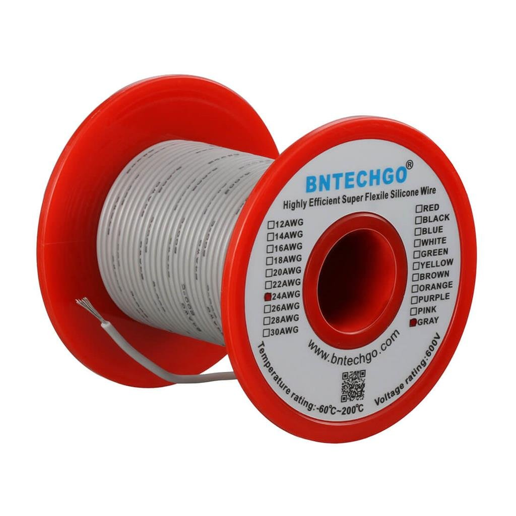 BNTECHGO 24 Gauge Silicone Wire Spool Black 100 feet Ultra Flexible High Temp 200 deg C 600V 24AWG Silicone Rubber Wire 40 Strands of Tinned Copper Wire Stranded Wire for Model Battery Low Impedance bntechgo.com