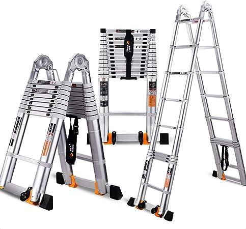 ZR- Escalera Telescópica, Escalera Multifunción Aleación Aluminio, Doblando La Escalera, Escaleras Del Hogar, Escalera Bambú Ingeniería. -Fácil de almacenar y fácil de llevar: Amazon.es: Hogar