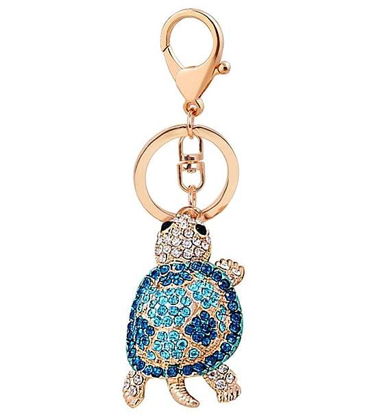 Amazon.com: vidrio de diamante llavero tortuga llavero bolsa ...