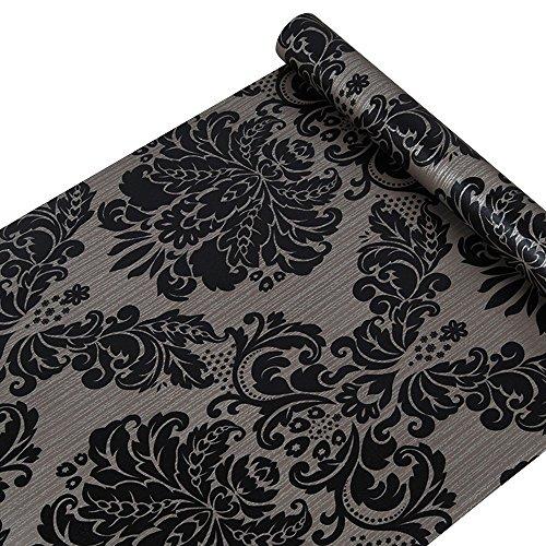 SimpleLife4U Black Damask Self-Adhesive Shelf Drawer Liner PVC Contact Paper (Damask Drawer Organizer)
