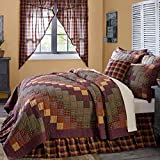 1 Piece Twin, Beautiful Eye-Catching Patchwork Quilt, Traditional Unique Style Border, Rustic Design, High Class Western Lodge Themed, Transitional Plaid Bedding, Adorable Red, Yellow, Multi Color