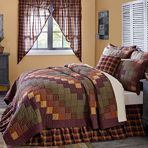 1 Piece Cal King, Beautiful Eye-Catching Patchwork Quilt, Traditional Unique Style Border, Rustic Design, High Class Western Lodge Themed, Transitional Plaid Bedding, Adorable Red, Yellow, Multi Color by AF ULTRA