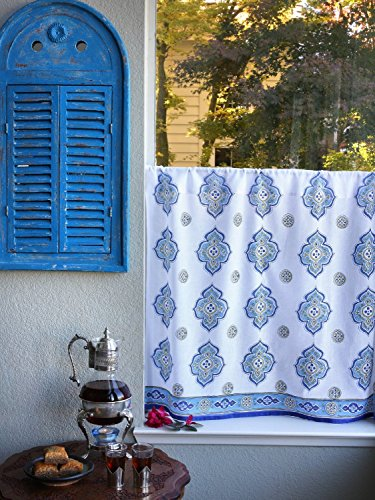 Saffron Marigold - Casablanca - White, Green, and Blue Moroccan Inspired Hand Printed - Sheer Cotton Voile Kitchen Curtain Panel - Rod Pocket - (46 x 36) (Voile Panels Cotton)