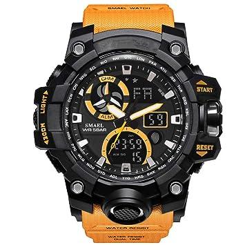 WZWatch Reloj Deportivo para Hombres Reloj Dual analógico Digital LED Reloj de Cuarzo electrónico Resistente al Agua natación Reloj Militar (Color ...