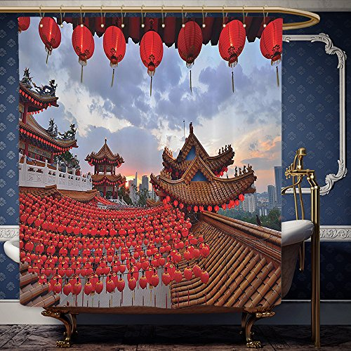 Wanranhome Custom-made shower curtain Lantern Oriental Ethnic Lanterns over A Temple at Sunset Structure for Religious Rituals Worship Red Blue For Bathroom Decoration 69 x 72 - Sunset Galleria At Map