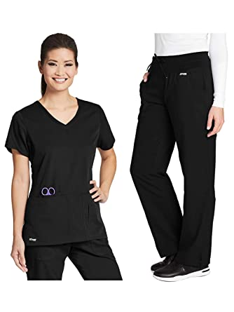 Greys Anatomy 41423-4276 Womens Active Top Bundle with Yoga Pant Medical Scrub Set (2 Items)