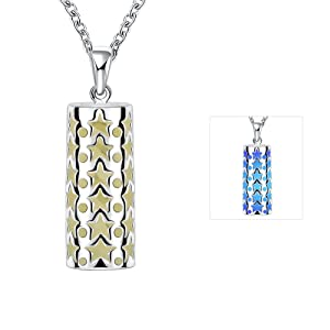 Women's Magical Fairy Glow in the Dark Pendant Openwork Cylinder Locket White Gold Plated Chain Custom Personalized Luminous Charm Necklace for Teens Girls , Blue