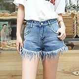 YFF Slim denim shorts wide leg tassel flash pants ,S,B