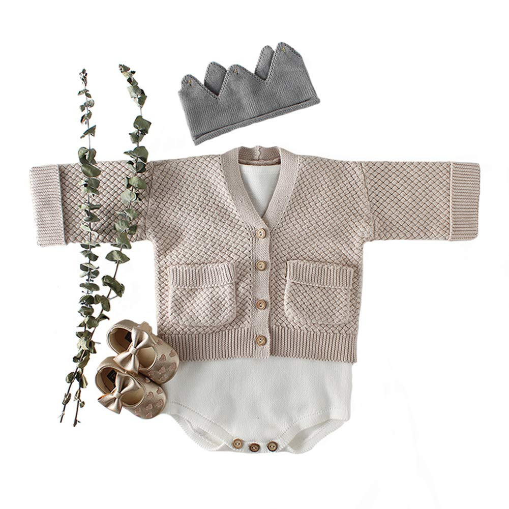 Newborn Baby Boys Girls Knit Pocket Coat Cardigan Cute Sweater Jacket Outfit