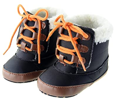 f5eb66dd1aa3 Kuner Baby Boys Plush Shoe Laces Warm Boots First Walkers Shoes(13cm ...