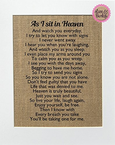 As-I-Sit-in-Heaven-BURLAP-SIGN-8×10-Home-decor-Loved-One-Poem-Rustic-Shabby-Chic-Vintage-Wedding-Decor-Sign