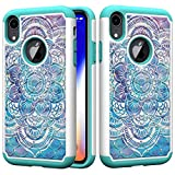 iPhone XR Case, ArtMine iPhone XR Hard Protective Case, Dual Layers Shockproof Phone Case with Bling Rhinestone for Apple iPhone XR 6.1 inch, Mandala