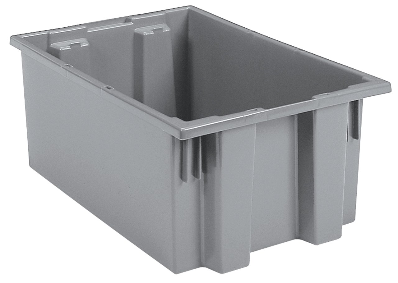 Akro-Mils 35200 Nest and Stack Plastic Storage and Distribution Tote, 19.5-Inch L by 13.5-Inch W by 8-Inch H, Grey, Case of 6 by Akro-Mils
