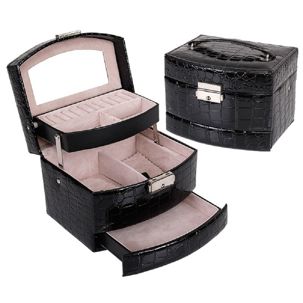Wuligirl 3 Layers Jewelry Box With Drawers Necklace Rings Earring Jewelry Case With Lock and Key Makeup Mirror Inside Black PU Leather (1D 3-Layer Jewelry Box)
