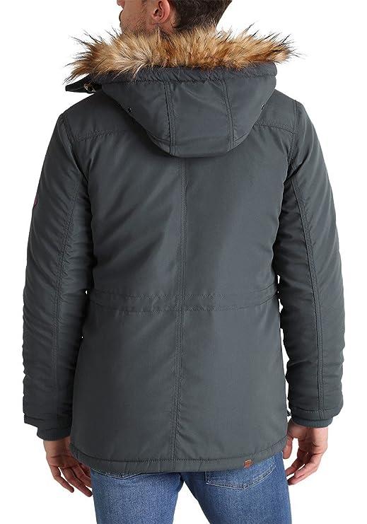 Blend Polygro Parka Abrigo Chaqueta De Invierno con Capucha Efecto Pelo para Hombre con Capucha