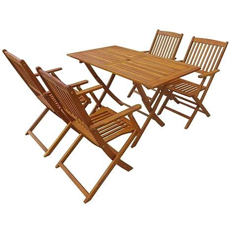 Festnight- Juego de Muebles Exterior de Jardín de Madera Maciza de Acacia Mesa y Sillas de Comedor 5 Piezas