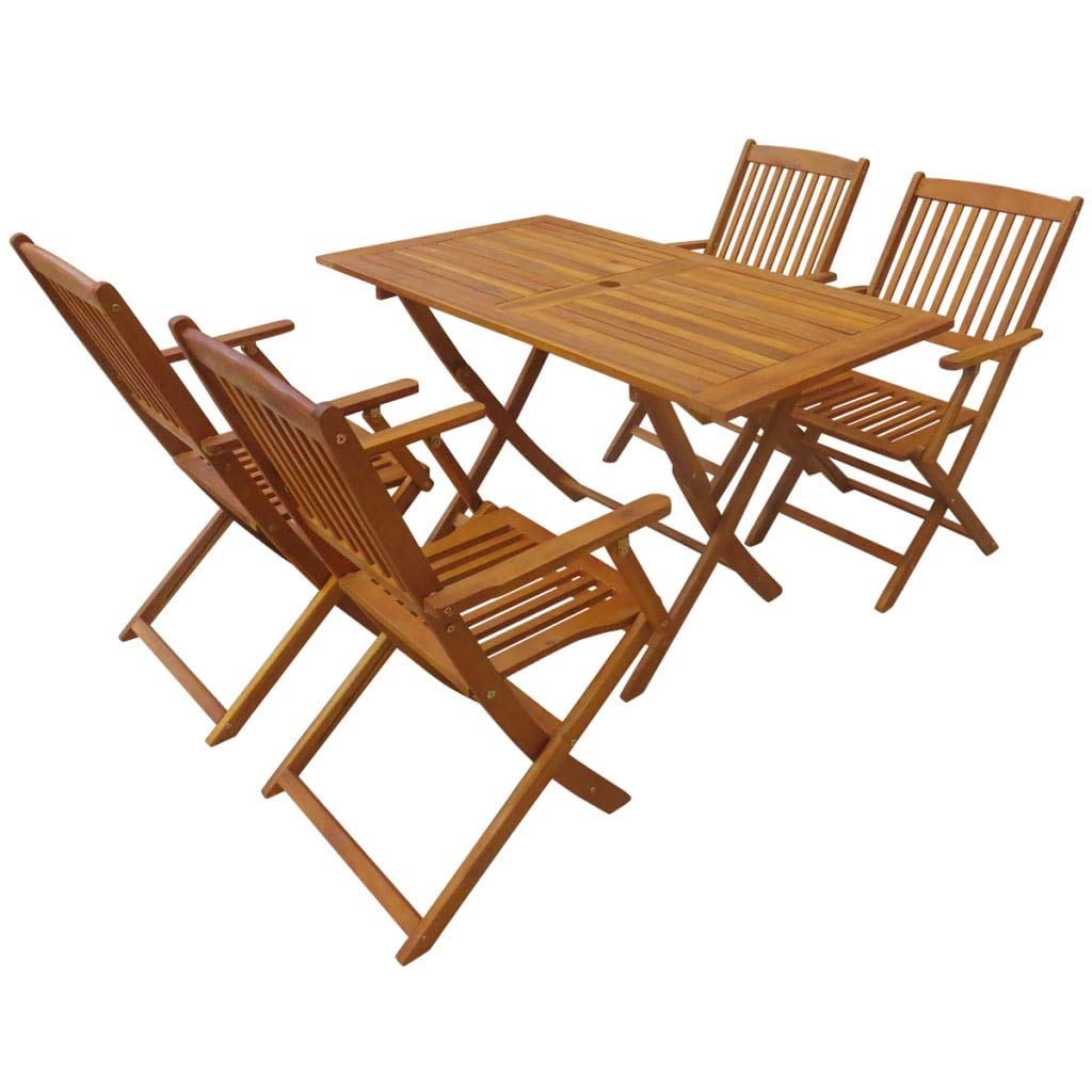 Fesjoy Wooden Garden Furniture Set Table Chairs Set Dining Table and Chairs  Set, 6 Seater Folding Outdoor Furniture 6 Chairs with a Table 6 x 6 x