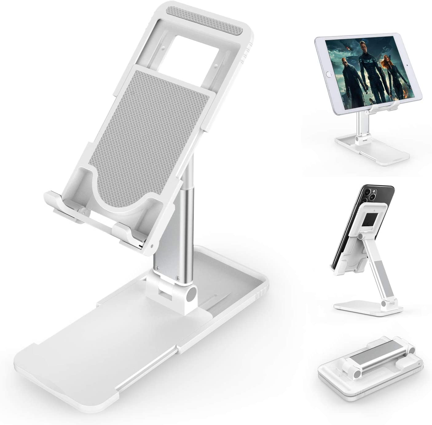 Cell Phone Stand Holder, Foldable Desktop Phone Stand, Extensiable Anti-Slip Base and Height Angle Adjustable Desk Phone Holder for iPad, Kindle, Mobile Phone, Tablet and Switch