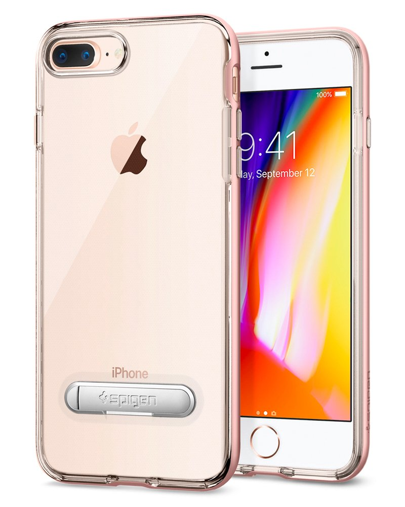 Spigen Crystal Hybrid Iphone 7 Plus 8 Case X Original Casing Champagne Gold With Water Mark Free Clear And Magnetic Metal Kickstand For Apple