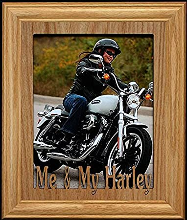 Amazoncom 8x10 Me My Harley Portrait Oak Mat With Frame