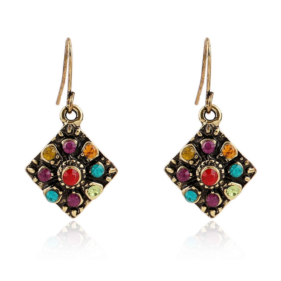 Ogquaton Style ethnique boh/ème unique r/étro diamant boucles doreilles style des femmes pratique et pratique