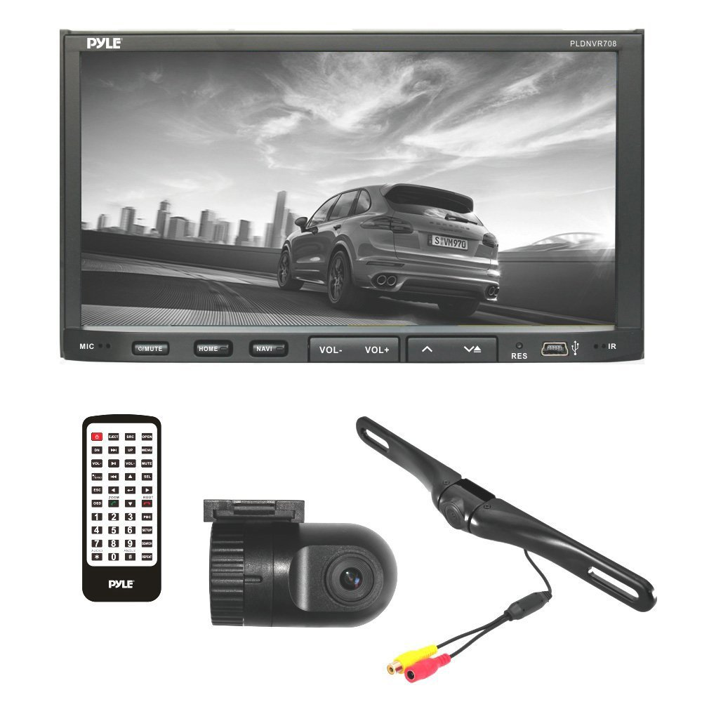 Pyle PLDNVR708 Car Stereo and Dual Camera Kit Includes Touchscreen Headunit Back Up Camera and Dash Cam
