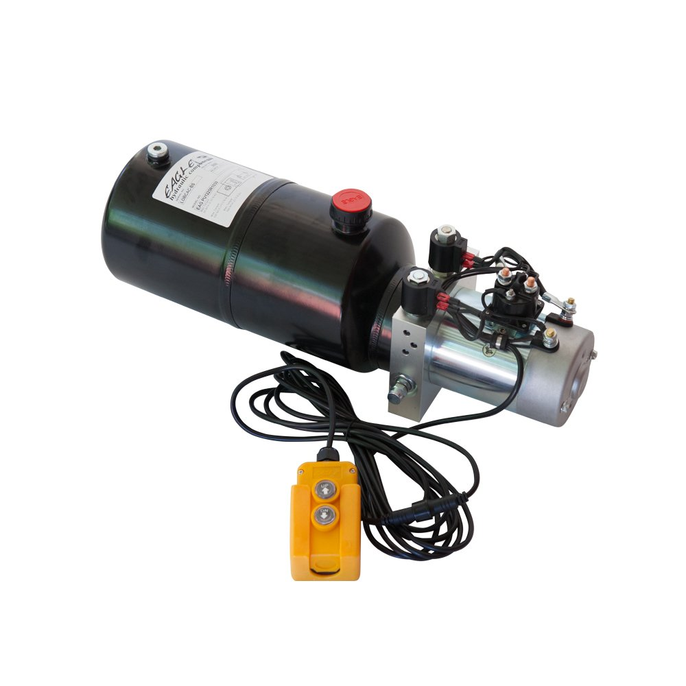 Equiped with 6 Quart Round Metal Reservior 12V Double Acting Power Unit for Dump Trailer//Lift-Gate /& More