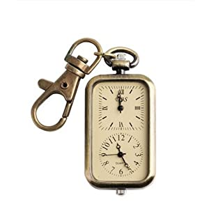 Classical Antique Analog Dual Time Pocket Key Chain Quartz Watch Two Time Zones