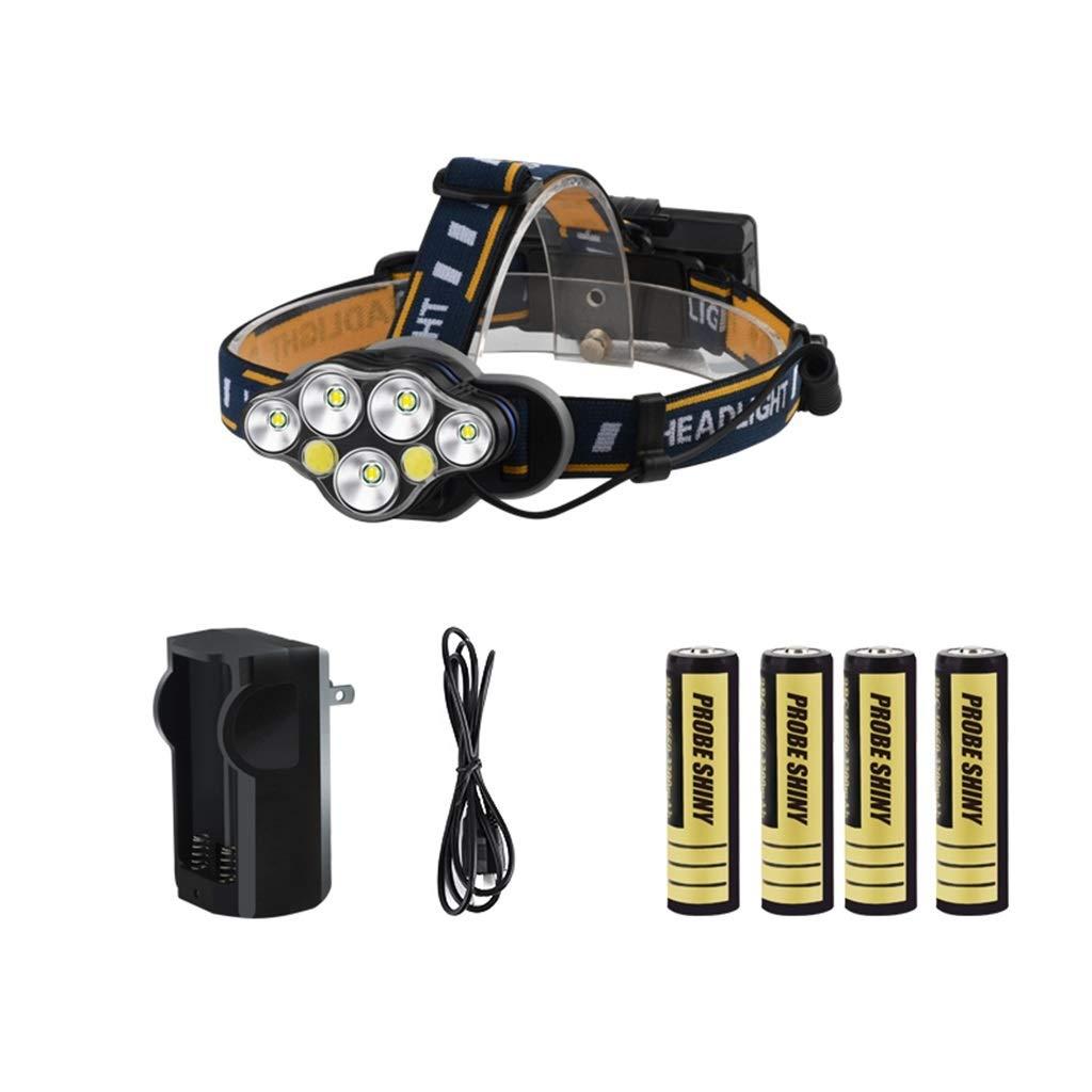 LED Lampada da Testa, Multifunzione Lanterna Super Luminoso USB Bianco Giallo Rosso Torcia Elettrica Impermeabile All'aperto Minatore Notte Pesca Lampada (dimensioni    7)