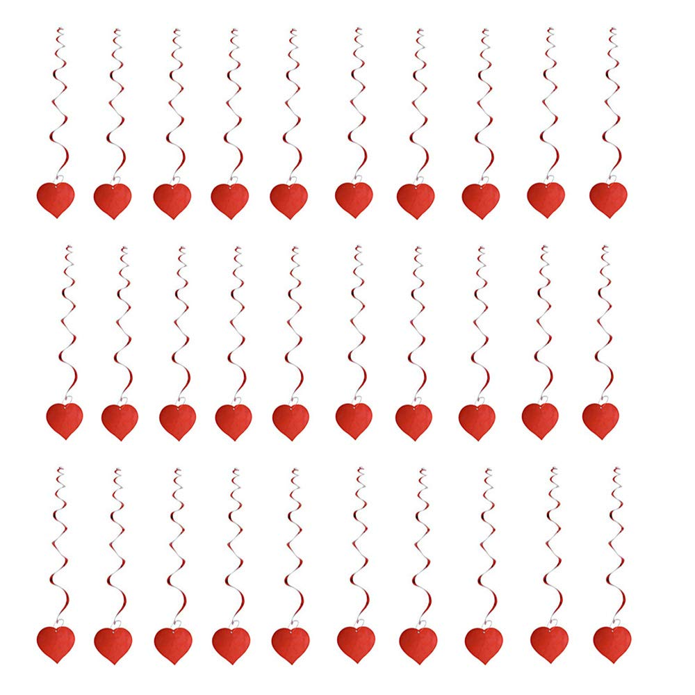 Adornos de Corazones para Bodas Decoraciones Colgantes del d/ía de San Valent/ín para el Techo y las Ventanas Cumplea/ños Art/ículos para Fiestas 30 Pz Amor rojo colgando San Valent/ín