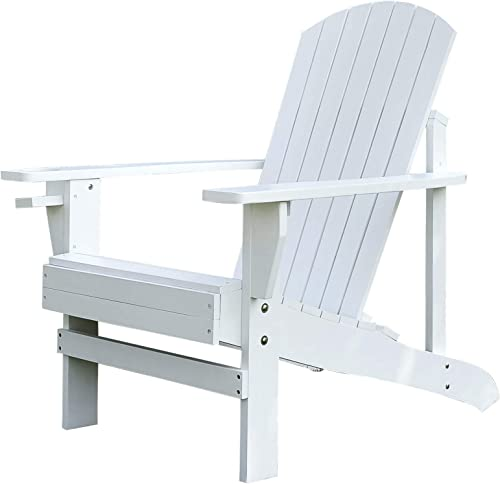 Outsunny Outdoor Classic Wooden Adirondack Deck Chair with Cup Holder – White
