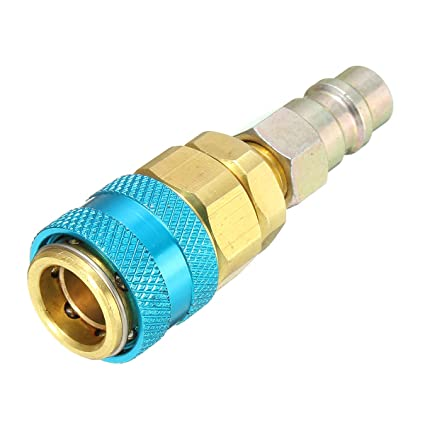 Color Rojo y Azul Adaptador de acoplador r/ápido R134A para Aire Acondicionado de Coche
