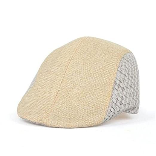 Men s Front Snap Breathable Flat Golf Ivy Driving Cap Hat (Beige) at ... bbd08596eda