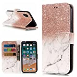 Find box iPhone X Case, Premium Flip Leather PU Wallet Smart Case Stand Kickstand Card Holder Magnetic Closure Clear TPU Bumper Slim thin Cover Case for iPhone X 2017 Rose Gold