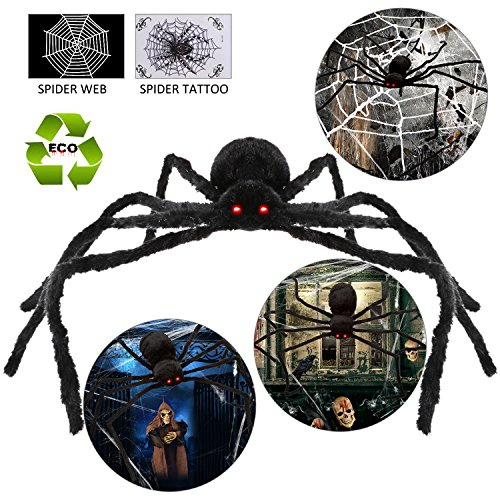 GAINT HALLOWEEN SPIDER+WEB Spooky Foldable Indoor Outdoor Wall Decorations Led Eyes For Party Birthday Christmas Gift