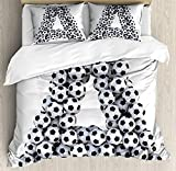 Letter A 4 Piece Bedding Set Twin Size, Realistic Soccer Balls in form of Capital A Sports Play League Competition Theme, Duvet Cover Set Quilt Bedspread for Childrens/Kids/Teens/Adults, Black White